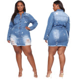 Plus Size Slim Sexy Single Breasted Long Sleeve Denim Dress LX-6045