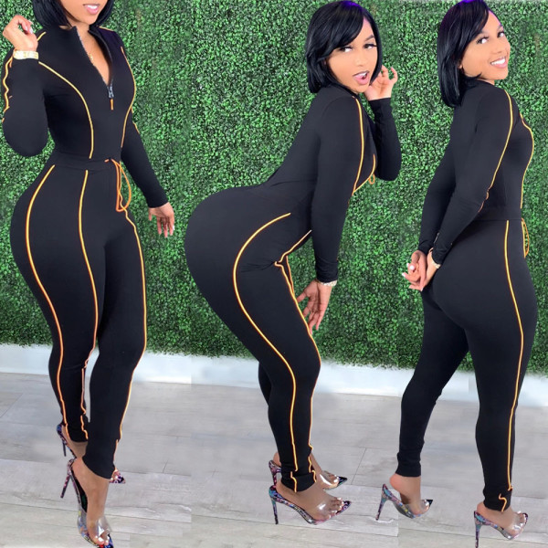Casual Solid Color Line Slim Fit Jumpsuit JPF-1017