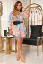 Casual Tie Dye Long Sleeve Mini Dress NK-8591