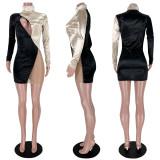 Contrast Color Splice Mesh Zipper High Collar Club Dress ASL-6318