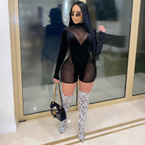 Sexy Mesh Patchwork Long Sleeve Rompers NK-8588