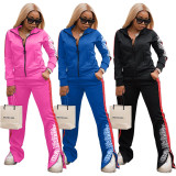 Fashion Casual Print Coat And Pants Sports Two Piece Set ZLF-824