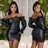 Off Shoulder Zipper Bandage Slim PU Leather Dress LX-2003