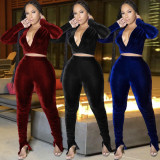 Sexy Velvet V Neck Split Stacked Pants 2 Piece Sets KSN-8065