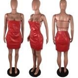 Sexy Sling Backless Zipper Nightclub PU Leather Dress LX-2005