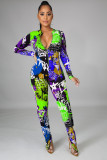 Sexy Zipper Printed Slim Jumpsuit With Mask HM-6359