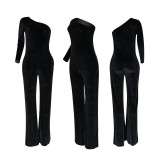 Casual Fashion Velvet Solid Color Single Sleeve Jumpsuit FENF-062
