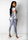 Dollar Print Long Sleeve Slim Jumpsuits SHD-9506