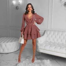 Plus Size Sexy Printed V Neck Ruffled Mini Dress OM-1188