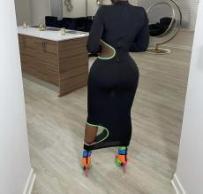 Sexy Long Sleeve Hollow Out Bodycon Long Dress LQ-612