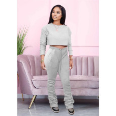 Casual Solid Long Sleeve Sracked Pants 2 Piece Sets MDF-5192
