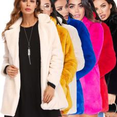 Winter Warm Solid Long Sleeve Lapel Fur Coat NK-8592