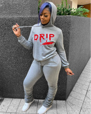 Casual Letter Print Hoodie Stacked Pants 2 Piece Suits MUL-157