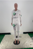 Letter Print Casual Fashion Hooded Sweatshirts And Pants Two Piece Set ARM-8243