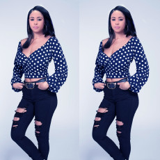 Sexy Polka Dot Print V Neck Crop Tops OMY-5030