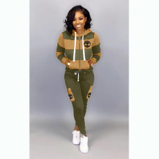 Casual Hooded Zipper Two Piece Pants Set OMY-5190