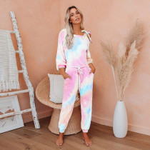 Sexy Tie Dye Lace Up Long Sleeve Jumpsuit OMY-8081