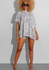 Leopard Print Casual Loose Long T-shirt + High Waist Shorts Suit OMY-8025