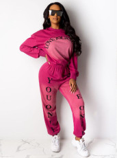 Gradient Letter Print Sweatshirt Two Piece Sets OMY-5183