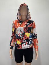 Casual Loose Printed Hoodie Tops DAI-8307