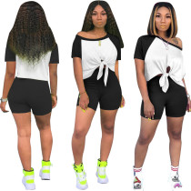 Fashion Casual Splice Tie Up Short Sleeve Shorts Two Piece Set OMY-8031