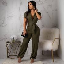 Short Sleeve Solid Color Jumpsuit (With Belt) OMY-5097