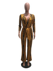 Fashion Sexy Printed Jumpsuit With Belt OMY-5039