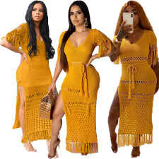 Sexy Short Sleeve Knitted Tassel Dress (With Belt) OMY-8017