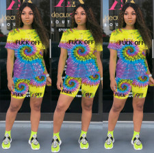 Tie-dye Printed T-shirt Shorts Casual Two Piece Set OMY-8037