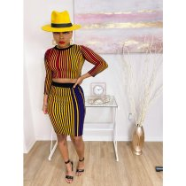 Sexy Striped O Neck Bodycon Skirt Two Piece Sets YIS-523