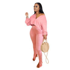 Fashion Casual Long Sleeve Top And Ruched Pants Sets  OMY-8072