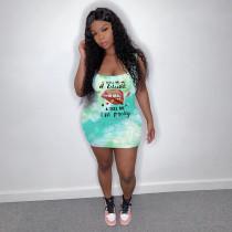 Summer Print Sexy Sleeveless Dress OMY-8038