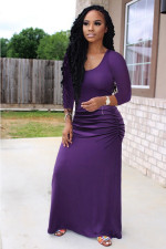 Plus Size Sexy Solid Color Seven-point Sleeve Dress OMY-8075-1