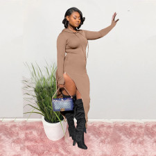 Sexy Side Zipper Long Sleeve Slim Maxi Dress LP-6260