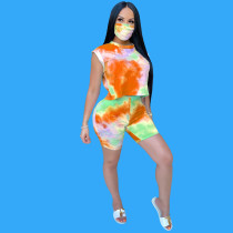 Fashion Casual Tie-dye Sleeveless Top And Shorts Suit With Mask OMY-8053