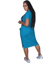 Letter Print Short Sleeve Midi Dress OMY-8035