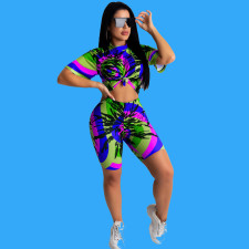 Fashion Sexy Tie-dye Short Sleeve Shorts Two Piece Set OMY-8054