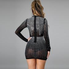 Sexy Shiny Hot Drilling Mesh Long Sleeve Club Dress CYA-8819