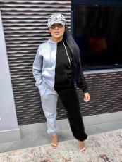 Sports Splice Hoodie Sweatshirts Pants Fashion Two Piece Set QYF-5030