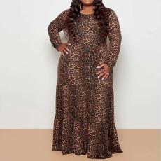 Plus Size 5XL Leopard Print High Waist Big Swing Maxi Dress CYA-1384