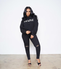 Solid Color Letter Print Hoodie And Hole Pants Two Piece Set SIF-0037