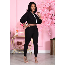 Casual Solid Ruched Pants Two Piece Pants Set PIN-8554
