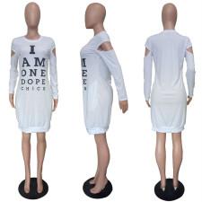 Casual Letter Print O Neck Long Sleeve Dress LSL-6180