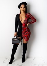Sexy Plaid Patchwork Patchwork Ruched Mini Dress OD-8409