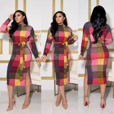 Plaid Print Long Sleeve Split Sashes Midi Dress LSL-6409