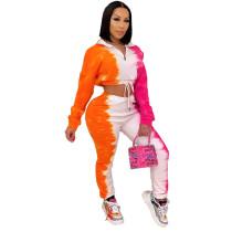 Plus Size Tie-dye Print Fashion Casual Long Sleeve Pants Two Piece Set WTF-9037