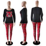 Fashion Cartoon Long Sleeve Top And Plaid Pants Two Piece Set WTF-9021
