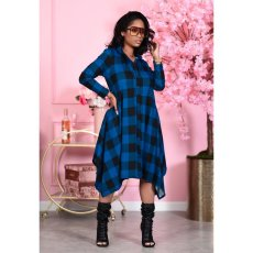 Casual Plaid Print Long Sleeve Irregular Shirt Dress MIL-191