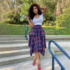 Fashion Plaid Print Skirt WTF-9064