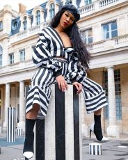 Casual Striped Zipper Sexy Pile Sleeve Coat And Wide Leg Pants Suit CQF-922